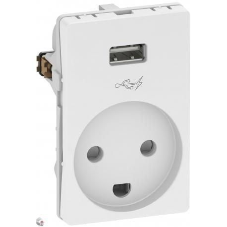 Fuga stikkontakt M/J med 5V USB lader type A, hvid